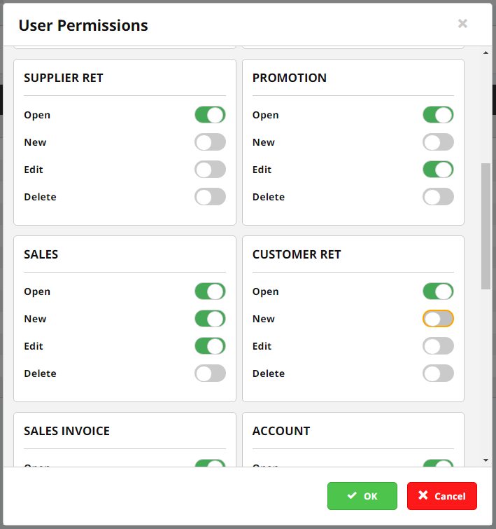 user permissions screen in cloud erp opening balances