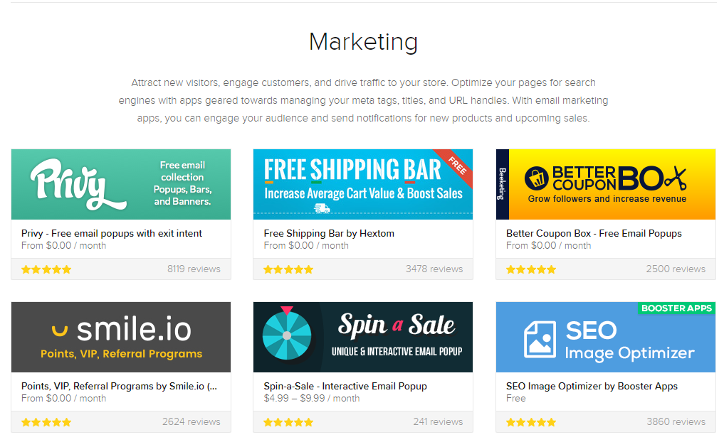 Shopify app Store marketing Category screenshot