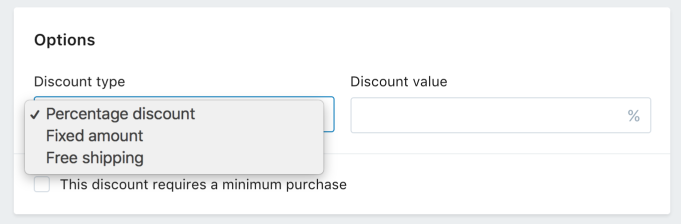 shopify discount codes options screenshot