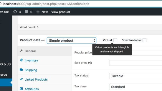 Creating Products in WooCommerce - Adding a Virtual Product