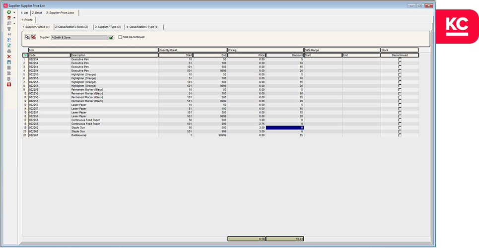 bulk pricing with khaos control