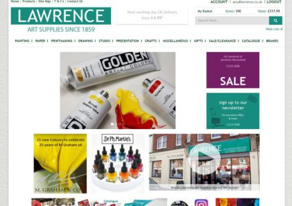 new ecommerce website for Lawrence Art Supplies - homepage